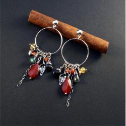 srebrne kolczyki z karneolem - Kolczyki - Biżuteria