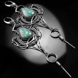 srenrne,kolczyki,wire-wrapping,amazonit,rosyjski - Kolczyki - Biżuteria