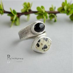 monochromatyczny,czerń,biel,pierścionek - Pierścionki - Biżuteria