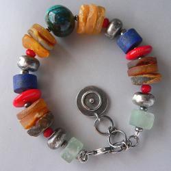 bursztyn,z koralem,srebro oksydowane - Bransoletki - Biżuteria