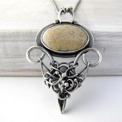 naszyjnik,koral fossil,srebro - Naszyjniki - Biżuteria