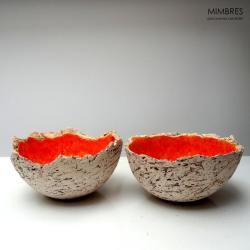 miseczki,pomarańcz,mimbres - Ceramika i szkło - Wyposażenie wnętrz