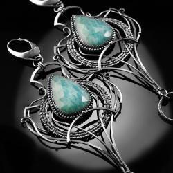 srebrne,kolczyki,wire-wrapping,amazonit,rosyjski - Kolczyki - Biżuteria