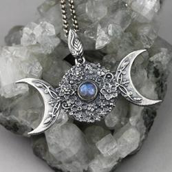 bogini,wicca,czarownica,księżyc,noc,kwiaty - Wisiory - Biżuteria