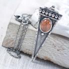 Naszyjniki Srebrny naszyjnik z kamieniem słonecznym