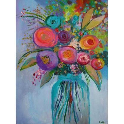 Kwiatyabstrakcjaróżczerwień Obrazy Wyposażenie Wnętrz W Arsneo