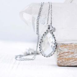 Srebrny naszyjnik z kryształem górskim - Naszyjniki - Biżuteria