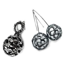 srebrny,okazały,komplet,srebro,okazały,kosmiczny - Komplety - Biżuteria