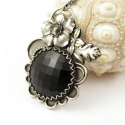 naszyjnik,czarny,kwiaty,retro,srebrny - Naszyjniki - Biżuteria