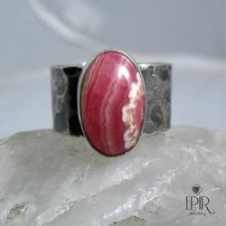 Obrączka srebrna z rodochrozytem - Pierścionki - Biżuteria