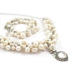 komplet,perły,elegancki,romantyczny,ślubny - Komplety - Biżuteria