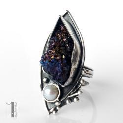 pierścień srebrny,kwarc tytanowy,metaloplastyka - Pierścionki - Biżuteria