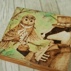 pirografia,wymalanie na drewnie,szkatułka, - Pudełka - Wyposażenie wnętrz