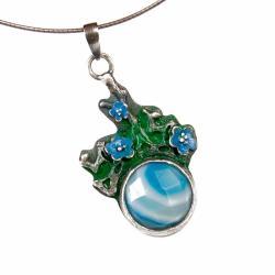 srebrny,wisior,emalia,z agtem,romantyczny - Wisiory - Biżuteria