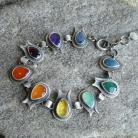 Oiolaire srebrna bransoleta z kolorowymi kamieniam