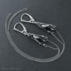 spinel,czarne zmije,czarne,dlugie,snakes earrings, - Kolczyki - Biżuteria