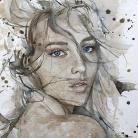 Obrazy akwarela,obraz,oryginał,portret,wnętrze,kobieta
