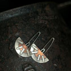 miedź,surowe,srebro,oksydowane - Kolczyki - Biżuteria