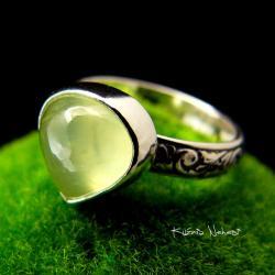 Nehesi,Pierścień,Ze Srebra,obączka,prehnitem - Pierścionki - Biżuteria