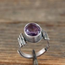 srebrny pierścionek z ametystem - Pierścionki - Biżuteria