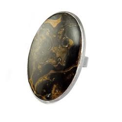stromatolit,skamieniały,srebro,jesienny,srebrny, - Pierścionki - Biżuteria