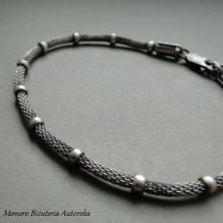 srebro,kulki,kolczuga,oksydowana - Bransoletki - Biżuteria