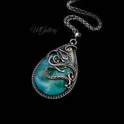 Srebrny wisior z agatem koronkowym wire wrapping - Wisiory - Biżuteria