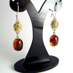 Kolczyki srebrne z bursztynami - Kolczyki - Biżuteria