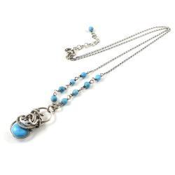 naszyjnik,wisiorek,wire-wrapping,turkus,niebieski - Naszyjniki - Biżuteria