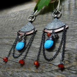 srebrne,miedziane,boho,turkusowe,oksydowane,mandal - Kolczyki - Biżuteria
