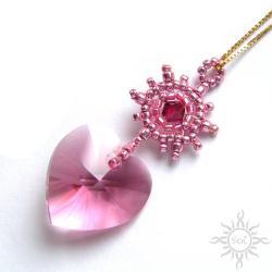 swarovski,serce,walentynki,różowe,kryształowe, - Wisiory - Biżuteria