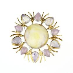 broszka,wisior,bursztyn,srebro,prezent,unikat - Broszki - Biżuteria