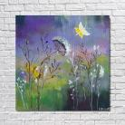 Obrazy łąka,akryl,fiolet,zieleń
