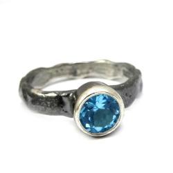 topaz,blask,błękitny,srebro,oko,mineralny - Pierścionki - Biżuteria