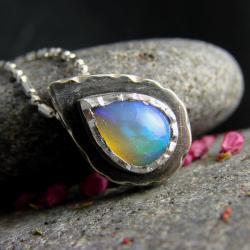 srebro,opal,naszyjnik,minimalistyczny - Naszyjniki - Biżuteria
