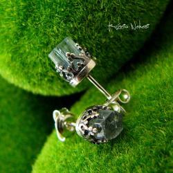 Nehesi,kolczyki,srebrne,sztyfty,wkretki,akwamaryn - Kolczyki - Biżuteria