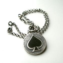 naszyjnik,wisior,pik,pendant,ace of spades - Naszyjniki - Biżuteria