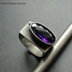 srebro,ametyst,awangardowy,purpurowy,sygnet - Pierścionki - Biżuteria