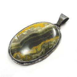 jaspis,srebrny,wisior,pejzaż,srebro,minerał,orange - Wisiory - Biżuteria