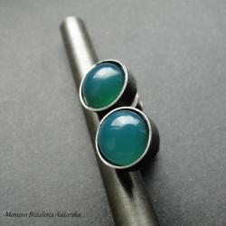 srebro,onyks,surowe,zielone - Kolczyki - Biżuteria