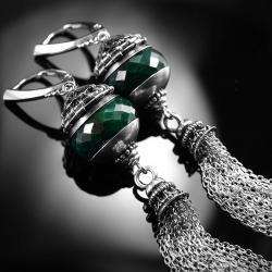 srebrne,kolczyki,wire-wrapping,szmaragd,ciba, - Kolczyki - Biżuteria