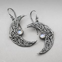 kamień ksieżycowy,srebrne księżyce,elfickie - Kolczyki - Biżuteria