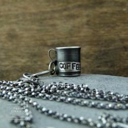 srebro,kubek,kawa,coffee, - Naszyjniki - Biżuteria