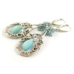 kolczyki,wire-wrapping,amazonit,niebieskie,długie - Kolczyki - Biżuteria