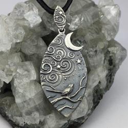 księżyc,noc,liście,ptak,magia,las - Wisiory - Biżuteria