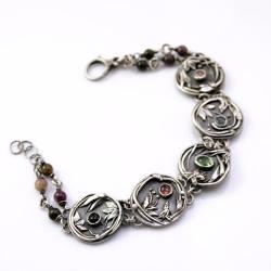 srebrna bransoletka,z ptaszkami,pastelowa - Bransoletki - Biżuteria