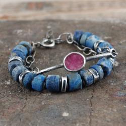 bransoleta z surowych kamieni i srebra - Bransoletki - Biżuteria