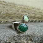 Pierścionki zielone kamienie,wstążka