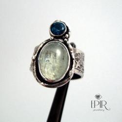 Pierścionek srebrny z akwamarynem i topazem - Pierścionki - Biżuteria