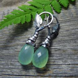 sztyfty,srebrne,organiczne,eleganckie,zielone - Kolczyki - Biżuteria